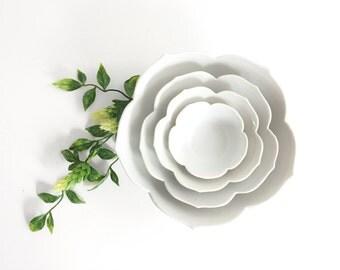 Vintage Set of Nesting White Lotus Bowls / Mid Century Porcelain Flower Bowls