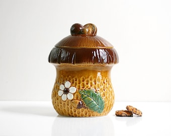 Vintage Ceramic Mushroom Cookie Jar / Retro Toadstool Kitchen Canister
