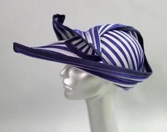 Hachi Cloche Sun Hat in Nautical Striped blue and white Buntal Straw