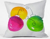 Pink and Green Holiday Indoor Throw Pillow