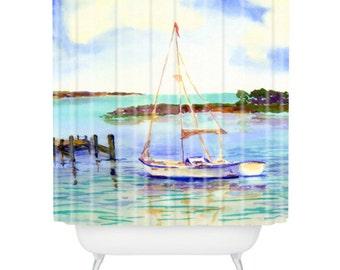 Summer Sail Watercolor Shower Curtain