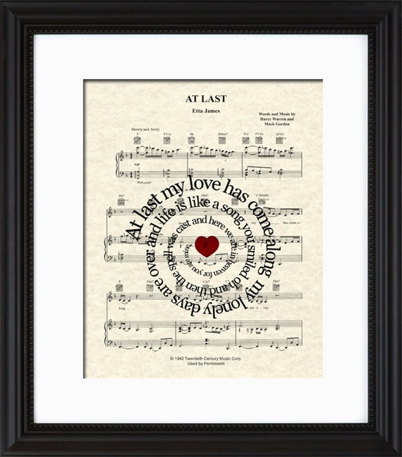 Dancing On My Own Sheet Music With Lyrics: At Last By Etta James Sheet Music Song Lyric By
