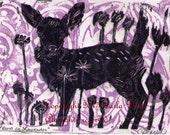 Black fawn linocut original deer Lino art two color black and lavender purple block print by crow baby press