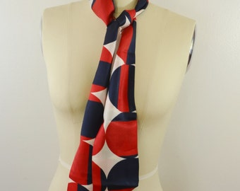 Vintage Women's Scarf Red White and Blue Head Scarf Big Polka Dots