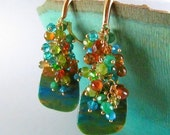 BIGGEST SALE EVER Peruvian Opal Gold Filled Cluster Earrings