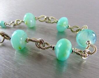 Peruvian Opal and Sterling Silver Link Bracelet