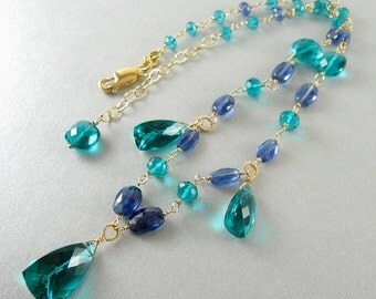 20 % Off Teal Green Quartz and Kyanite Wire Wrapped Gold Filled Necklace