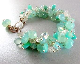 Aqua Blue Cluster Gemstone Sterling Silver Adjustable Bracelet