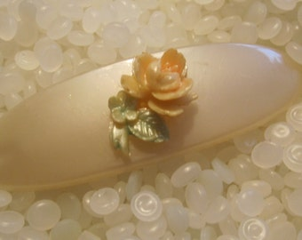 vintage hair barrette , soft creamy  white with peach rose