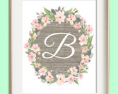 Letter B Printable, Instant Download, Baby Girl Nursery Wall Art, Girl Nursery Decor, Floral Monogram, Pink Mint Gray Letter Art, Baby Gift