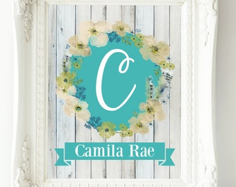 Personalized Nursery Art, Baby Girl Nursery Wall Art, Custom Name Print, Aqua Teal Nursery Art, Child Wall Art, Floral Monogram, Letter Art