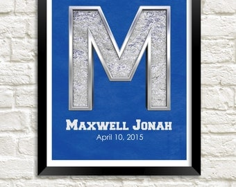 Custom Letter Art, Personalized Nursery Art, Child Wall Art, Boys Room Print, Nursery Name Art, Kids Room Decor, Baby Boy Nursery Wall Art
