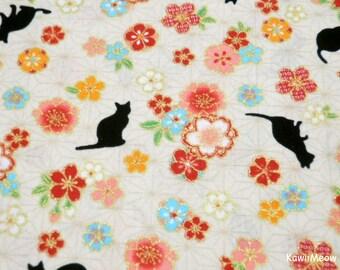 Beautiful Kimono Fabric - Asanoha Black Cat Sakura on Beige - Fat Quarter (ta160528)