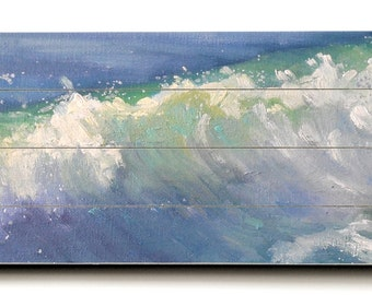 Seascape Giclee Print on Wood Plank, Wave Painting Print, Free Shipping, Choose your Size