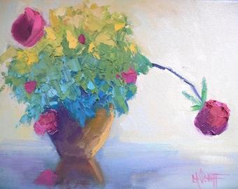 "Flower Oil Painting, Rose Bush Still Life, Textured Flower Painting, 9x12x.75"" Oil"