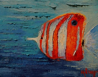 """Tropical Fish Painting, Palette Knife Fish Painting, Underwater, 9x12x.75"""" Textured Beach Decor"""