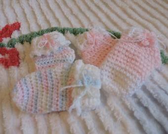 Socks Crochet Little Girl Varigatedand Pink and White Pastels with White Anklett Baby Bootie Sock