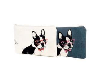 Pouch, Zipper Pouch, Fabric Pouch, Pencil Pouch, Cosmetic Pouch, Coin Purse, Change Pouch, Zipper Case, Dog Pouch, Dog with Glasses Pouch