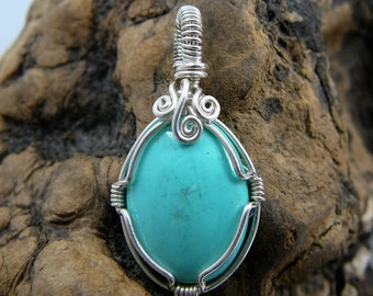 Lovely Turquoise and Sterling Silver Wire Wrapped Pendant ~Wire Wrapped Stone, Healing Stone Pendant, Hippie, Earthy, Handcrafted Pendant