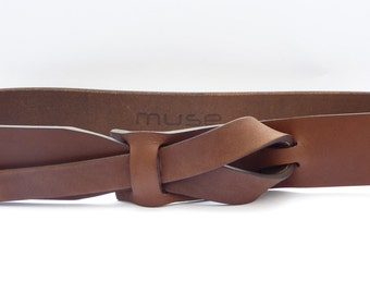 Bruin Muse lederen riem 1.5 inch Nikkel-Free / Versand kostenfrei
