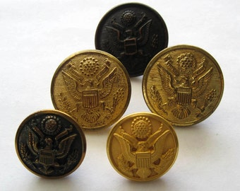 5 Vintage Uniform Buttons