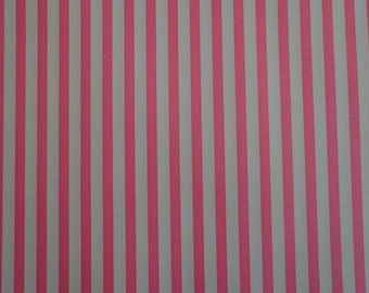 Vintage Gift Wrap Paper 1970s Salmon Pink & White Stripe Wrapping Paper 2 Sheets