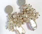 CUPID SALE xOx Boho Silver Wedding Earring Biwa Pearl Cluster Earring Wire Wrap Blush Biwa Pearl Ivory Druzy Post Earring Romantic Bohemian
