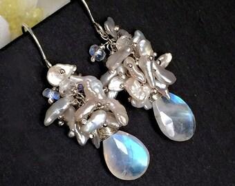 SALE Keishi Pearl Cluster Earrings Rainbow Moonstone Gemstone Wire Wrap Sliver Keishi Pearl Cluster Sterling Silver Wedding Earrings