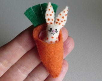 Bunny Rabbit polka dot felt stuffed animal plush miniature in carrot bed play set