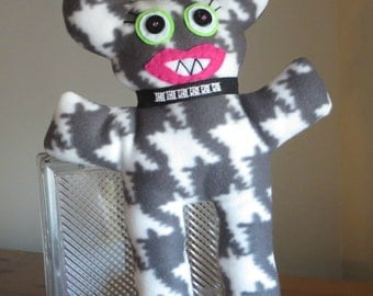 Monster doll plush fleece with diamond collar stuffed animal toy in Houndstooth print Beasty Girl