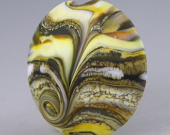 an etched large lentil focal in sultry neutral organic colors handmade glass lampwork - Earthy Delights
