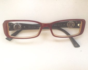 Chanel vintage burgundy  cc logo reading glasses