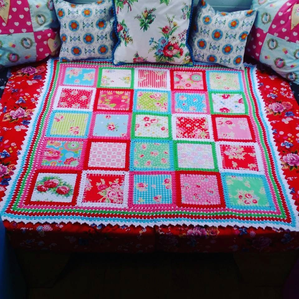 Patchwork Crochet Fabric Fusion Blend Quilt Blanket Baby