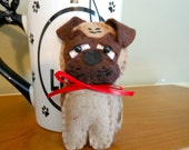 Pug Dog Ornament Hand Sewn in Wool Blend Felt, Home Decor, Pug Lover, Small, Canine, Dog Lover, Pug Decoration, Christmas Decoration