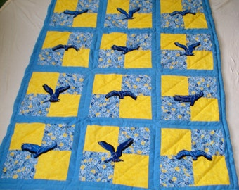 Soaring Birds Crib Quilt, Hand Quilted, Hand Appliqued,  for boy or girl babies