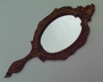 Vintage Brass Hand Mirror Metal Ornate Bird Flowers