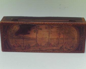 Vintage Wooden Box Victorian Trinket Box Decoupage Black Gold
