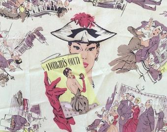 Absolutely Fabulous 1951 Aubrey Rix Illustrated Silk Crepe Jacqmar Novelty Scarf!