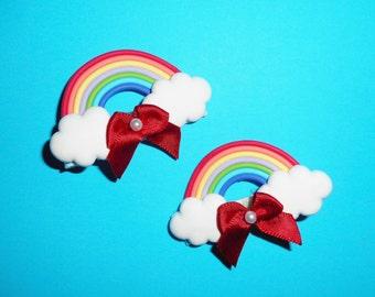 Red Bow Rainbow Barrettes