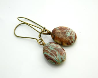 Brown Turquoise Jasper Earrings, Jasper Earrings, Rustic Green Turquoise Earrings, Brown Jasper Earrings, Jewelry Earrings, Jasper Jewelry