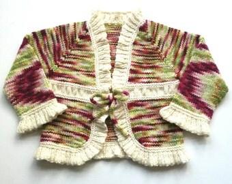 Hand knitted organic merino wool cardigan. Girl's ruffled cardigan. 4-5 years. Handmade with hand dyed yarn. Long sleeved sweater.
