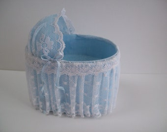 Blue Vanity with White Lace Skirt and Blue Bows