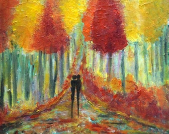 Fall Painting Original Oil Evening Romance Couple Hand Painted Canvas Art by Luiza Vizoli