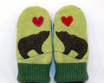 Wool Sweater Bear Mittens Felted Wool Light Green Brown and Red with Applique and Leather Palm Eco Friendly Upcycled  Size M/L