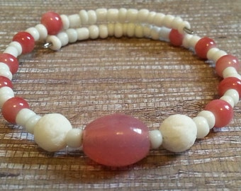 Aromatherapy Diffuser Bracelet in Pink and White