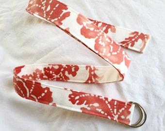 D Ring Belt, Womens Belt, Plus Size, Teen belt, custom belt, soft orange and white pattern
