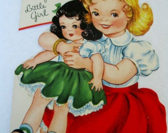 Vintage Used Christmas Card For Mother With Cute Young Girl Holding A Very Large Doll