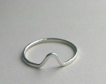 Sterling silver peak ring, stacking ring