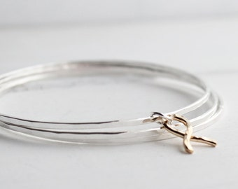 Sterling Silver Stacking bangles with 14kt gold filled Ribbon Charm, Breast Cancer Awareness month, Stacking Bracelets,