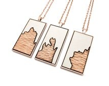 Modern Abstract Two-Tone Laser Cut Exotic Wood Pendant with Irregular Edge Design - Lacewood and Barnwood Gray Paint in Rectangle Setting